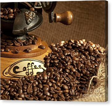 Coffee Grinder With Beans Canvas Print by Gunter Nezhoda