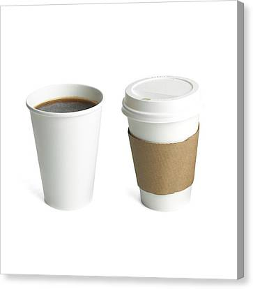 Coffee In Polystyrene And Paper Cups Canvas Print