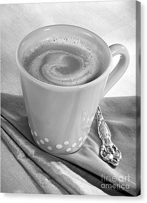 Coffee In Tall Yellow Cup Black And White Canvas Print by Iris Richardson