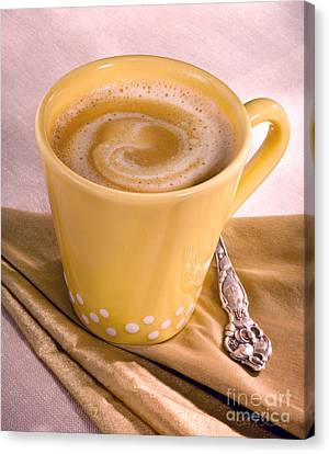 Coffee In Tall Yellow Cup Canvas Print by Iris Richardson