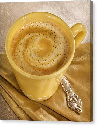 Coffee In Yellow Canvas Print