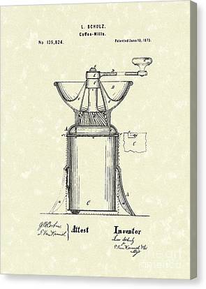 Coffee Mill 1873 Patent Art Canvas Print