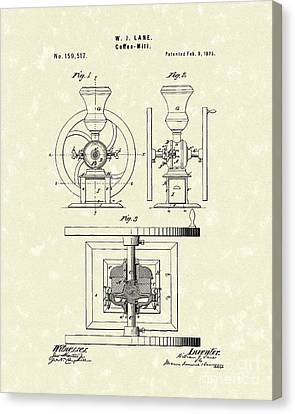 Coffee Mill 1875 Patent Art Canvas Print
