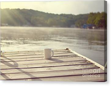 Coffee On The Dock Canvas Print by Kay Pickens