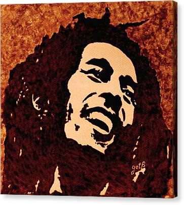 Coffee Painting Bob Marley Canvas Print by Georgeta  Blanaru
