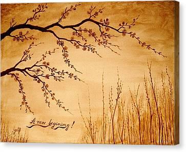 Coffee Painting Cherry Blossoms Canvas Print by Georgeta  Blanaru