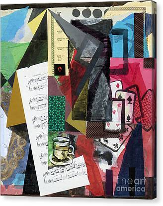 Coffee Pot And Playing Cards Canvas Print by Phillip Castaldi