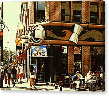 Coffee Shop Ice Cream Parlor Cafe Depot St.laurent And Prince Arthur Summer Montreal Cafe Scene Canvas Print