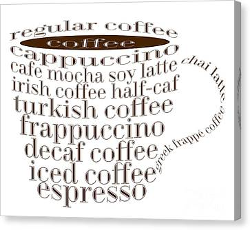 Coffee Shoppe Coffee Names Typography Canvas Print by Andee Design