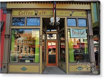 Clare Michigan Canvas Print - Coffee Talk In Clare Michigan by Terri Gostola