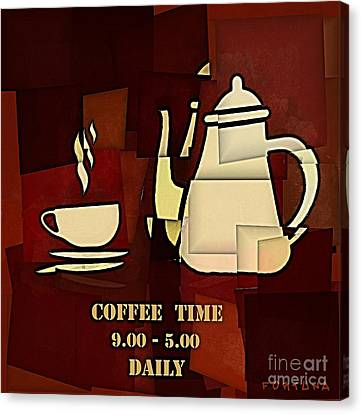 Coffee Time Canvas Print by Dragica  Micki Fortuna
