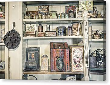 Coffee Tobacco And Spice - On The Shelves At A 19th Century General Store Canvas Print by Gary Heller