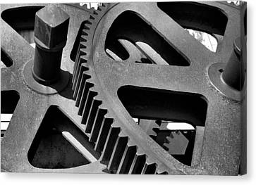 Canvas Print featuring the photograph Cogwheels In Black And White by Nadalyn Larsen