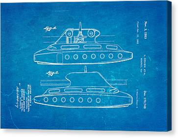 Monorail Canvas Print - Cohen Monorail Toy 3 Patent Art 1953 Blueprint by Ian Monk