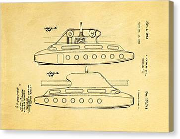 Monorail Canvas Print - Cohen Monorail Toy 3 Patent Art 1953 by Ian Monk