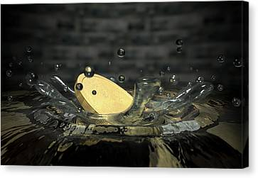 Coin Hitting Water Splash Canvas Print by Allan Swart