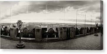 Coin-operated Binoculars On The Top Canvas Print by Panoramic Images