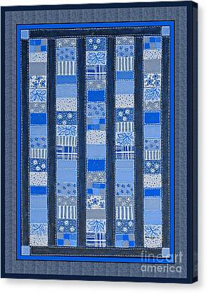 Homemade Quilts Canvas Print - Coin Quilt -  Painting - Blue Patches by Barbara Griffin
