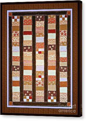 Coin Quilt -  Painting - Brown And White Patches Canvas Print by Barbara Griffin