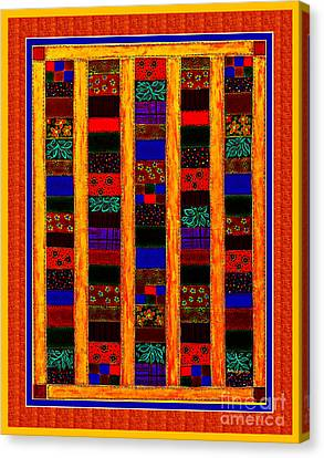 Coin Quilt -  Painting - Orange Patches Canvas Print by Barbara Griffin