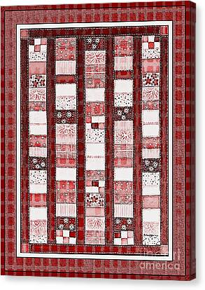 Coin Quilt -  Painting - Red Patches Canvas Print by Barbara Griffin