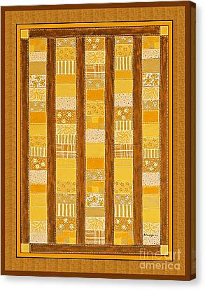 Coin Quilt -  Painting - Yellow Patches Canvas Print by Barbara Griffin