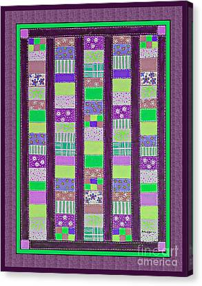 Coin Quilt - Quilt Painting - Purple And Green Patches Canvas Print by Barbara Griffin