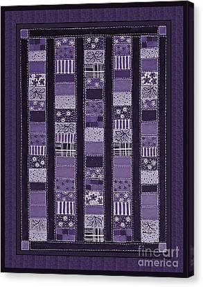 Coin Quilt -quilt Painting - Purple Patches Canvas Print by Barbara Griffin
