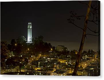 Coit Tower By Night Canvas Print