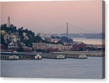 Coit Tower Sits Prominently On Top Of Telegraph Hill In San Francisco Canvas Print by Scott Lenhart