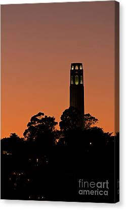 Canvas Print featuring the photograph Coit Tower Sunset by Kate Brown