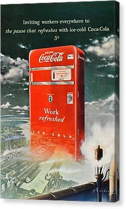 Coke - Coca Cola Vintage Advert Canvas Print by Georgia Fowler
