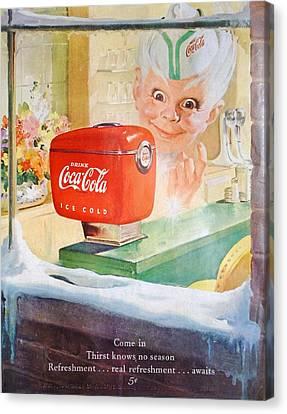 Coke Gremlin In Winter Canvas Print by Georgia Fowler