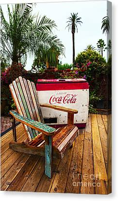 Canvas Print featuring the photograph Vintage Coke Machine With Adirondack Chair by Jerry Cowart