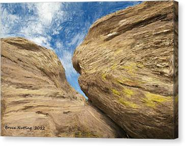 Canvas Print featuring the painting Colby's Cliff by Bruce Nutting