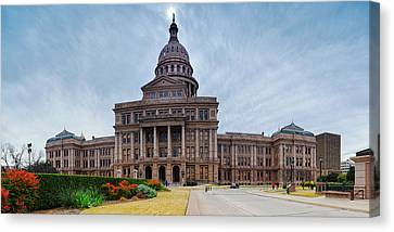 Cold And Blustery Day At The Texas State Capitol Austin Ektachrome 64 Asymmetrical View  Canvas Print by Silvio Ligutti