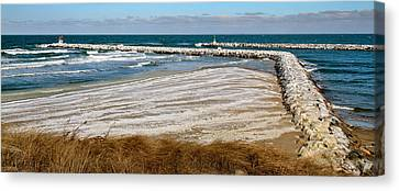 Cold And Frosty Sesuit Harbor Entrance Canvas Print by Carl Jacobs