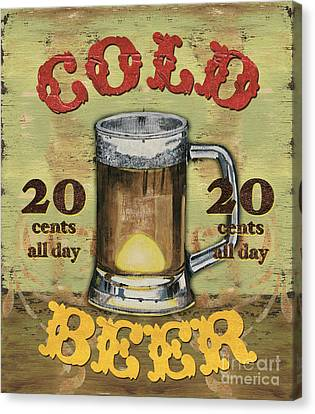 Vintage Sign Canvas Print - Cold Beer by Debbie DeWitt