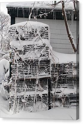 Canvas Print featuring the photograph Cold Lobster Trap by Robert Nickologianis