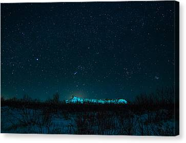 Cold Night On The Saddle Horn Canvas Print