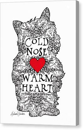 Canvas Print featuring the drawing Cold Nose Warm Heart by Melissa Sherbon