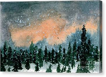 Cold Snow At Twilight Canvas Print by R Kyllo