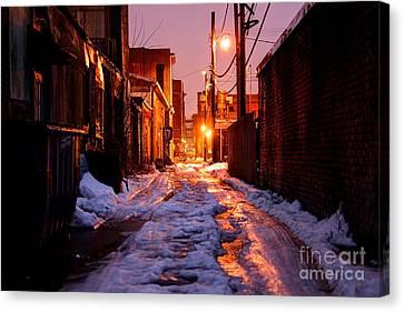 Cold Urban Alleyway Canvas Print by Denis Tangney Jr