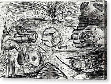 Cold War Disco Monster Awakens From The H Bomb Drawing Canvas Print by Don Lee