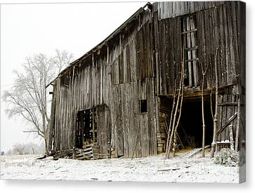 Cold Winter At The Barn  Canvas Print by Wilma  Birdwell