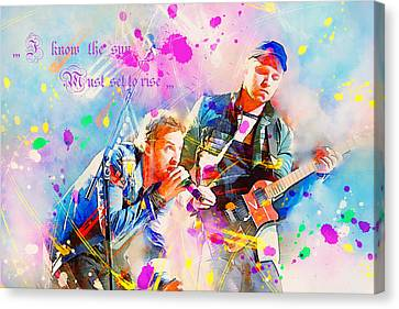 Coldplay Canvas Print - Coldplay Lyrics by Rosalina Atanasova