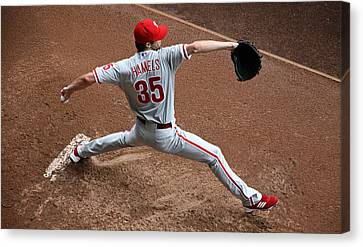 Cole Hamels - Pregame Warmup Canvas Print by Stephen Stookey