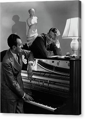 Cole Porter And Moss Hart At A Piano Canvas Print by Lusha Nelson