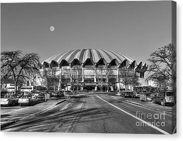 Coliseum B W With Moon Canvas Print by Dan Friend