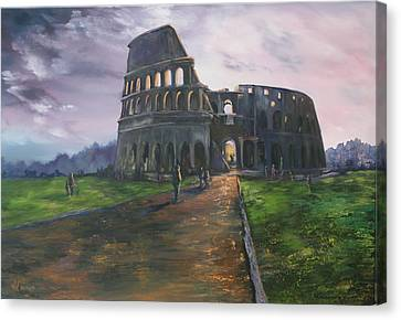 Canvas Print featuring the painting Coliseum Rome by Jean Walker